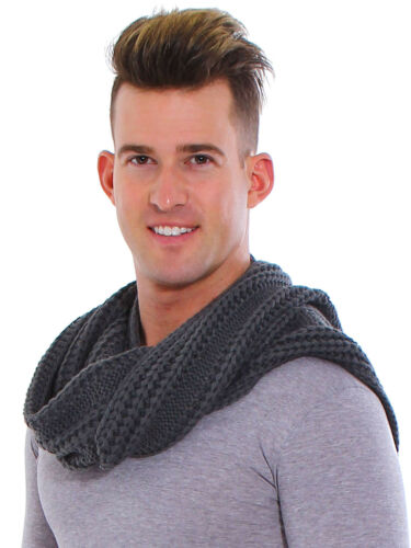 Unisex Lover Solid Crochet Thick Knitted Infinity Stiped Scarf Soft Warm Scarves