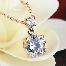 18K ROSE GOLD GF MADE WITH SWAROVSKI CRYSTAL PENDANT NECKLACE SIMPLE ROUND CUT