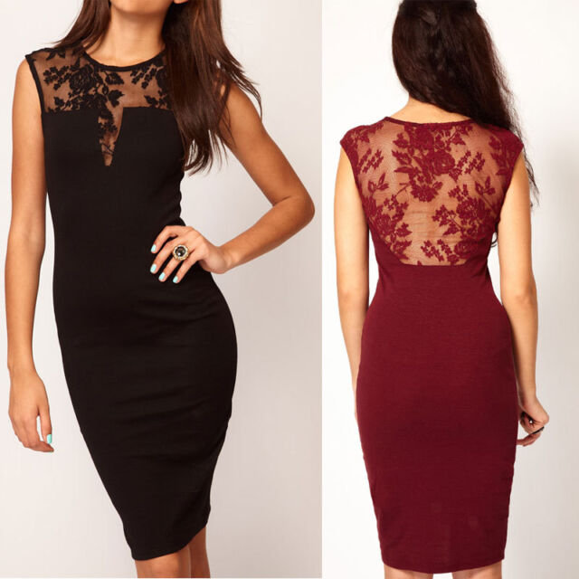 Sexy Women Lace Sleeveless Backless Bodycon Dress Party Evening Mini Dress Club