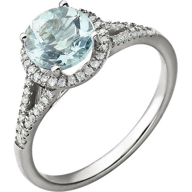 Genuine Aquamarine and Diamond Ring in 14kt White gold, March Birthstone