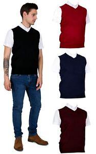 Herren-Rot-Schwarz-Blau-Burgund-Relco-Skins-V-Ausschnitt-Armellos-Pullover-Tank-Top