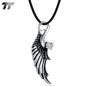 Quality-TT-Stainless-Steel-Angel-Wing-Pendant-Necklace-Clear-CZ-NP323-NEW