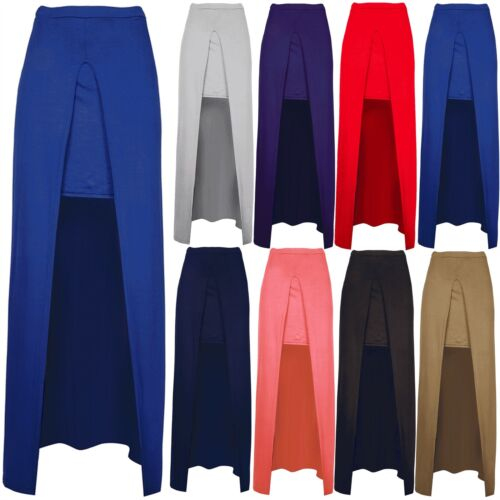 Women Ladies Inspired Front Cut Out Slit Plain Pencil 2 in 1 Longline Midi Skirt
