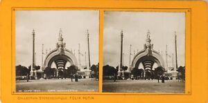 FRANCE-Paris-Exposition-Universelle-1900-Porte-Monumentale-Photo-Stereo-PL60L12