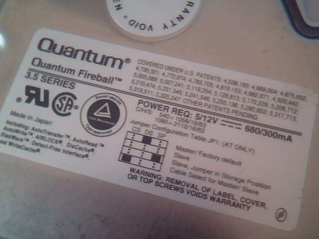 Hard Disk Drive Quantum Fireball FB10S011 1080S Rev 02-G