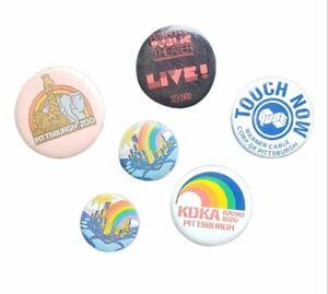 6 VINTAGE Pittsburgh, PA area Pinback Buttons Pins Brooch - KDKA Zoo Skyline