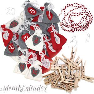 Adventskalender 24 Säckchen zum Befüllen   Kinder Weihnachtskalender Holzklammer