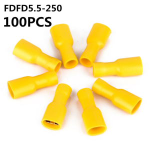 YELLOW FEMALE SPADE Heat Shrink Sleeves Electrical Wire Butt Terminals 6.3mm