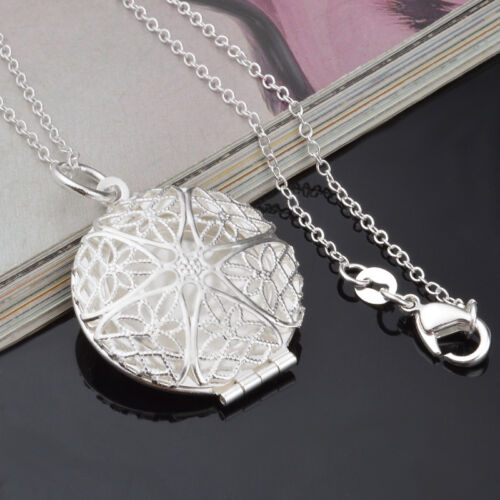 Exquisite Silver Plated Filigree Round Locket Pendant Necklace Chain Jewelry Hot