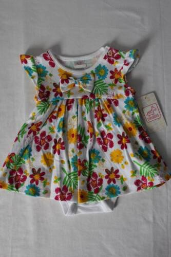 NEW Baby Girls Outfit Size 6-9 Months Multi-Colored Flowers Dress Bodysuit