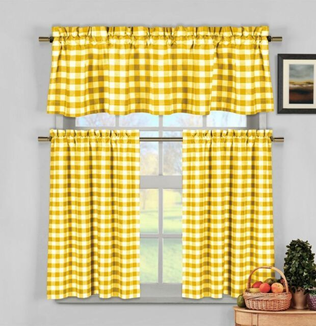 Yellow Gingham Checkered Plaid Kitchen Tier Curtain Valance Set Duck