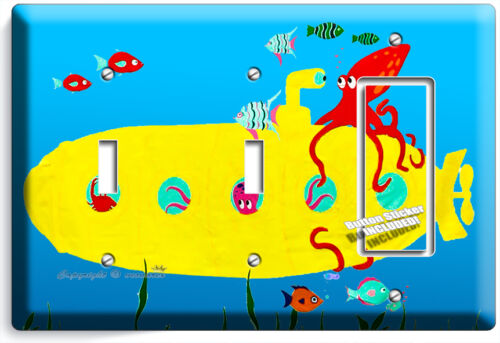 FISH OCTOPUS YELLOW SUBMARINE LIGHT SWITCH OUTLET WALL PLATE KIDS BATHROOM DECOR