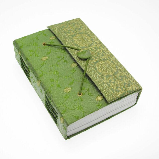 Fair Trade Handmade Green Medium Sari Journal Notebook
