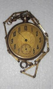Antique Elgin natl. watch co. pocket watch & chain. S/N 24423647. Circa 1922.