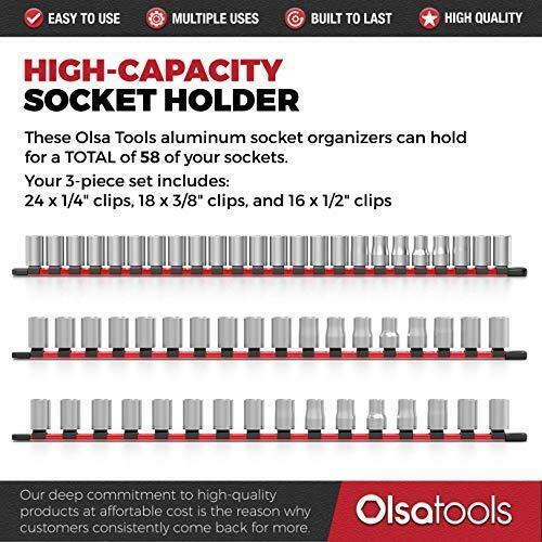 3//8-Inch /& 1//4-Inch Drive Aluminum Socket Organizer Olsa Tools 1//2-Inch