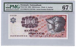 Denmark 1000 Kroner Banknote 2006 Pick# 64d PMG Superb GEM UNC 67 EPQ