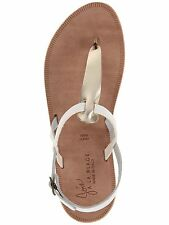 JOIE A LA PLAGE $195 WHITE GOLD LEATHER TOPANGA THONG SANDALS  39.5 9.5