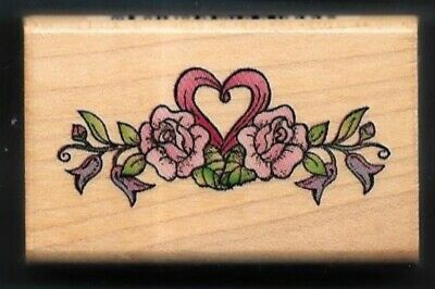 Vintage Heart with Banner Wedding Save the Date Custom Rubber Stamp AD216
