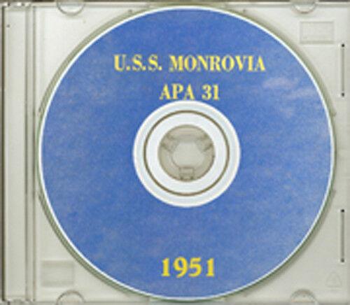 USS Monrovia APA 31 1951 Arctic Cruise Book on CD RARE