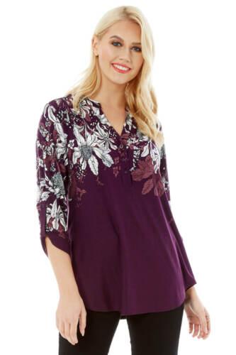 Floral Border Plum Shirt Women Roman Originals PuTOkXZi