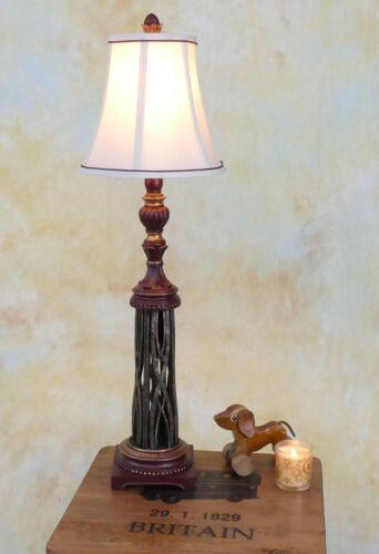 Tischlampe Lampe Stehleuchte Stoffschirm Schmiedeeisen antik Landhaus PQ012-a