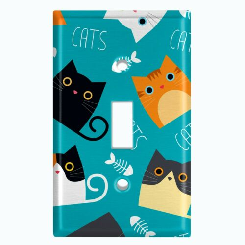 Metal Light Switch Cover Wall Plate Adorable Cat Fish Bone Teal