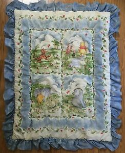 Vintage Classic Winnie The Pooh Blue Comforter Baby Crib