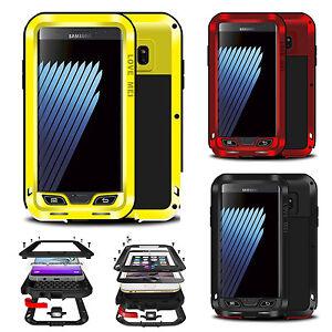 LUXUS-POWERFUL-OUTDOOR-ALU-Metall-Case-Schutz-Huelle-Bumper-Cover-Echt-Glas-Folie