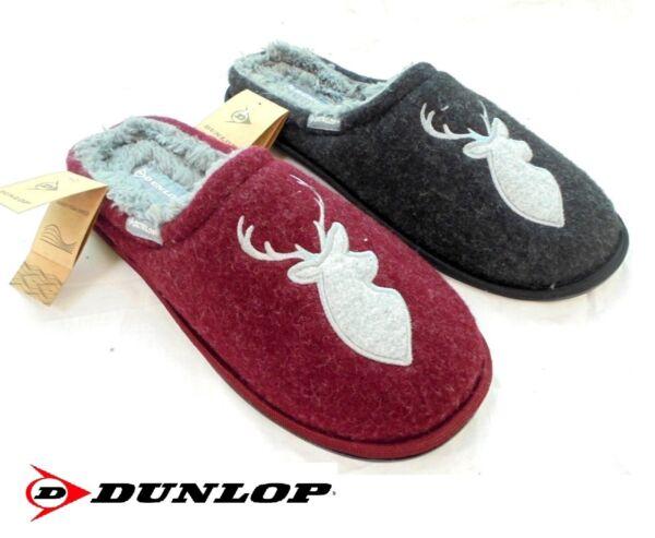 * Vendita Nv Uomo Dunlop Mulo Pantofole Di Lusso Memory Foam Caldo Foderato Stag Taglia 7-12 Ottima Qualità
