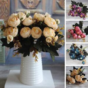 Am-1-Bouquet-Artificial-Tea-Rose-Faux-Silk-Cloth-Flowers-Room-Wedding-Decor-Nim
