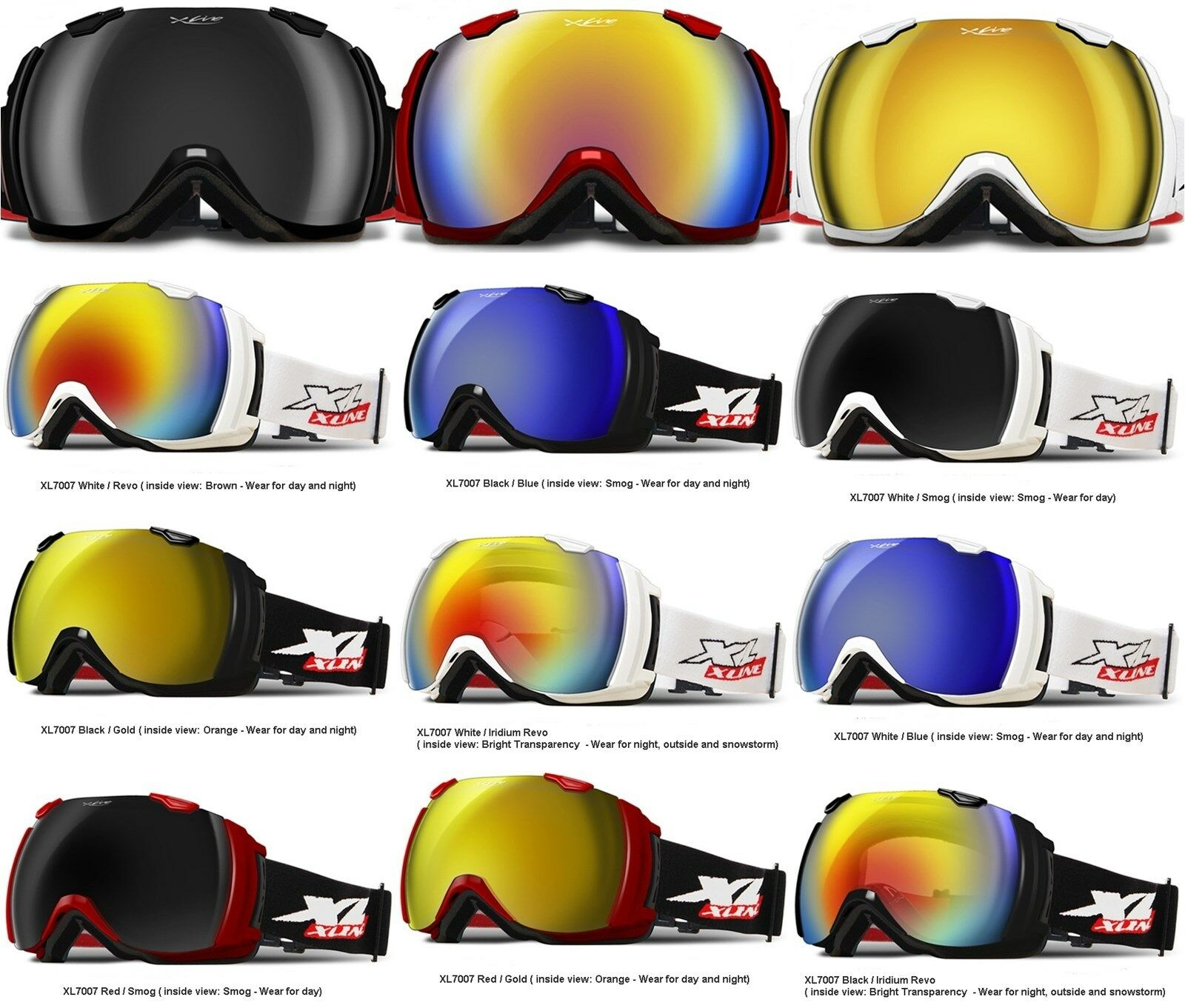 XLINE XL7007 Goggles SKI SNOWBOARD Mirrored OVERLENS Wide Snowstorm Double