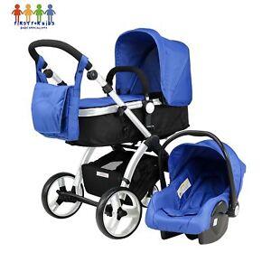 Baby-Boys-New-Newborn-Pram-Black-Buggy-Stroller-Travel-System-3-in-1-Set-Blue