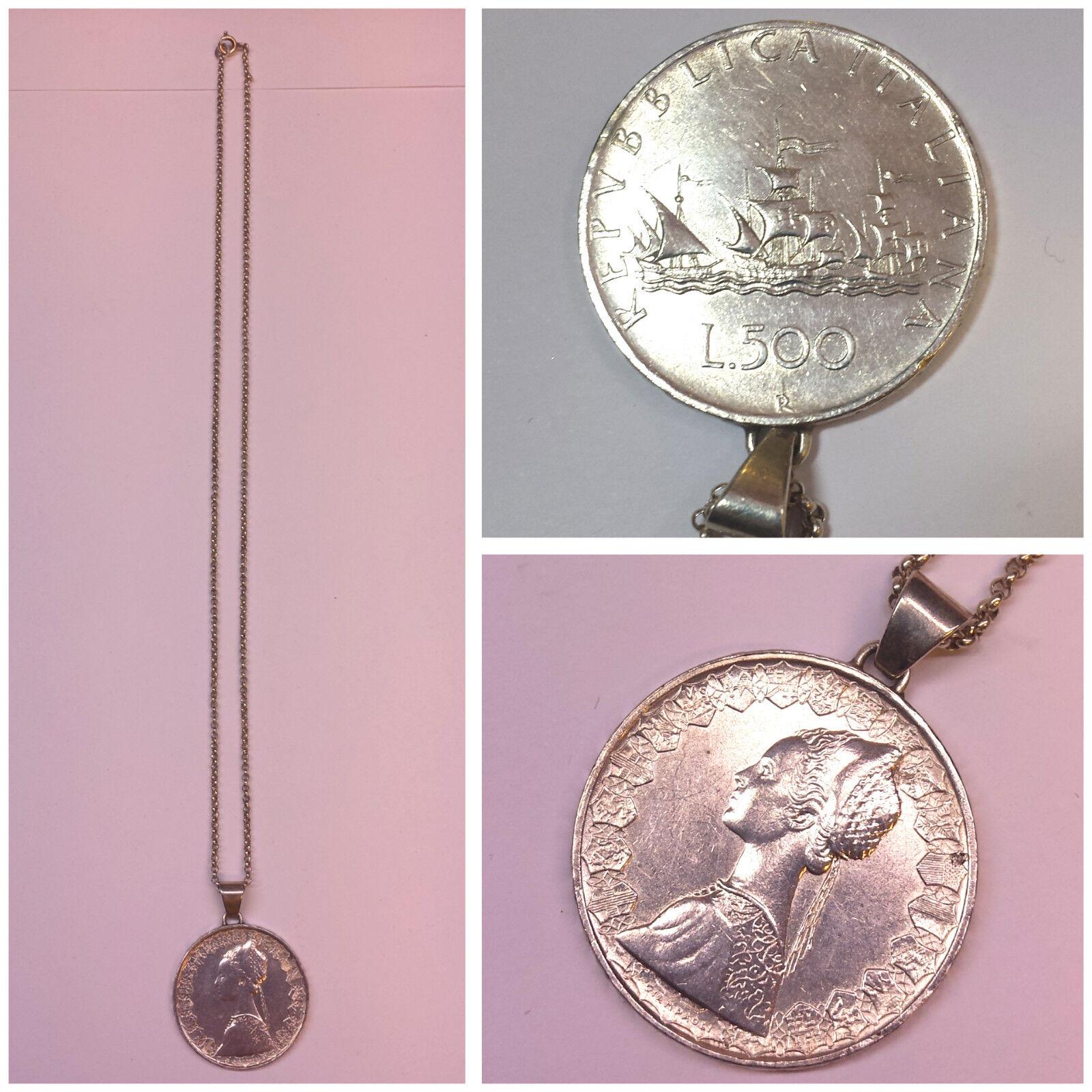 Moneta COMMEMORATIVA 835 egli argentoo catena ciondolo moneta 500 500 500 LIRE 1959 REPUBBLICA ITALIANA 7c1088