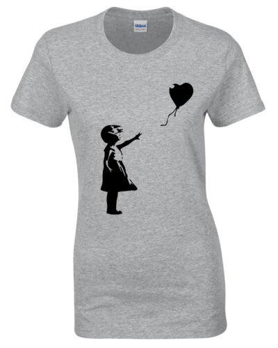 Banksy Girl With Baloon Damen T-Shirt Street Art Graffiti Hipster Damen