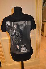 Women's Zara black T-shirt with black diamantes size small