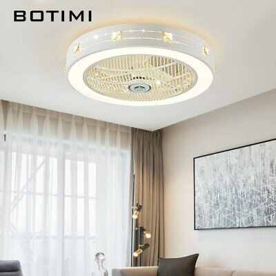 Modern Led Ceiling Fans With Lights For Living Room Cooling Round