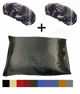 1pc-Queen-Standard-Satin-Pillow-Case-with-2pc-Matching-Bonnet-Set-Many-Colors