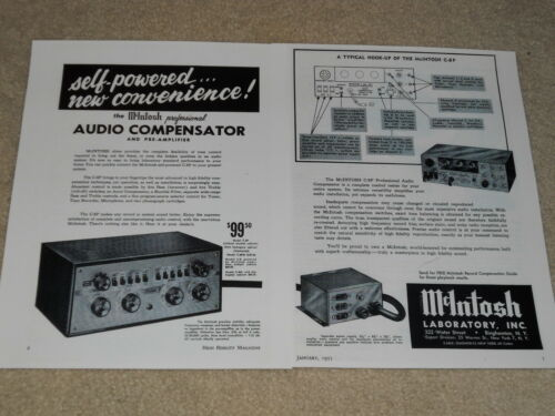 Specs 2 pgs McIntosh C-8P Audio Compensator Ad 1955 Very Rare and Beautiful