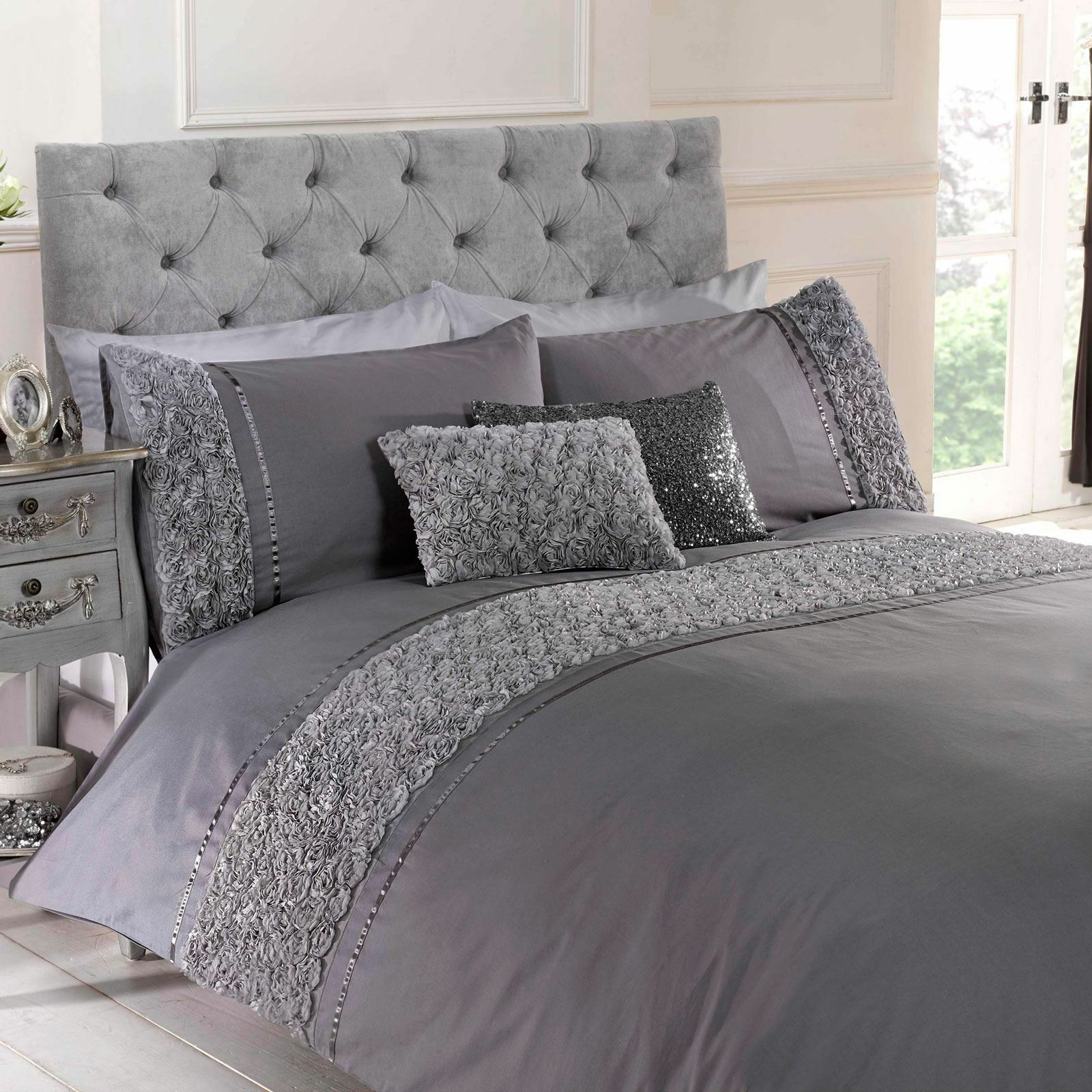 LIMOGES pink RUFFLE GREY SUPER KING SIZE DUVET COVER & PILLOWCASE SET