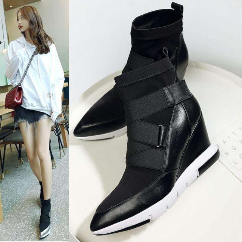 2019 Womens Leather Pointed Toe Strappy High Top Sneaker Wedge Sport Ankle Boots