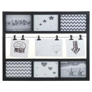 Black 9 Multi Picture Photo Frame Decoration Collage Wall Hanging