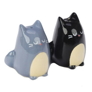 Details About Puckator Black And Grey Cat Salt Pepper Set Shakers Cute Gift Novelty Home