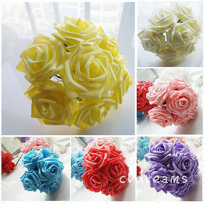 50 Colourfast Foam Roses Artificial Flower Wedding Bride Bouquet Party Decor DIY