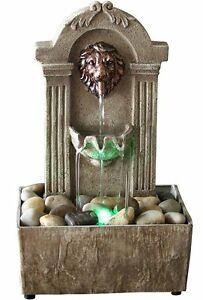 Image Is Loading Rustic LION Indoor Water Fountain Tabletop Waterfall  Relaxation