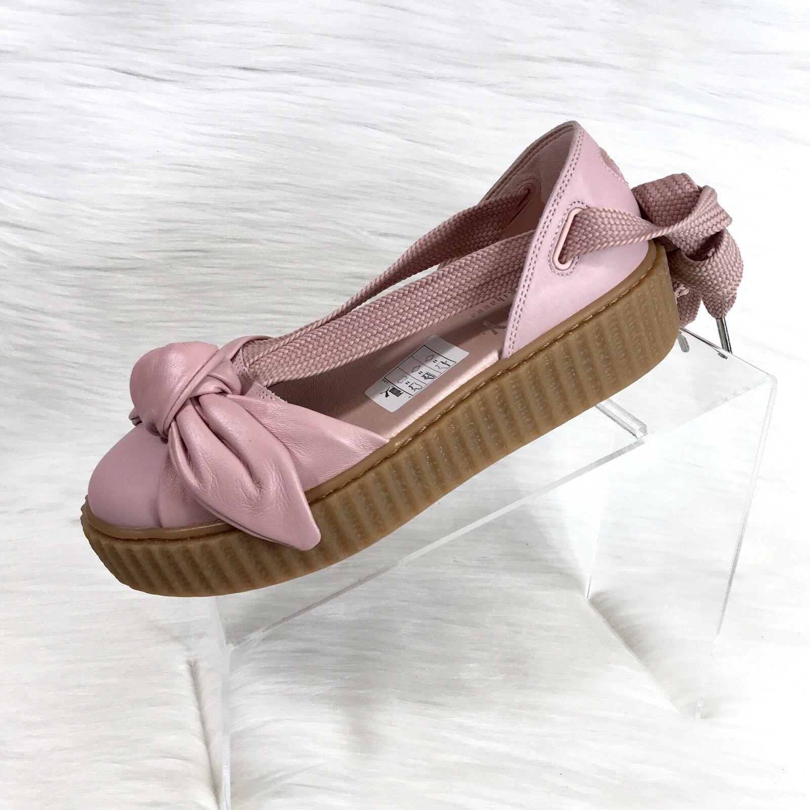 Rihanna fenty puma x sandali di pelle rosa creeper arco di dimensioni 7 nuovi