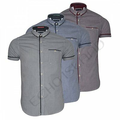 Mens Short Sleeve Gingham Check Shirt Button Down Collar Slim Fit- Smart Casual