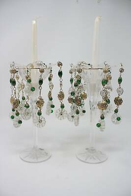 Candle Bobeche Green Beads Gold Clear Crystal Wax Drip ...