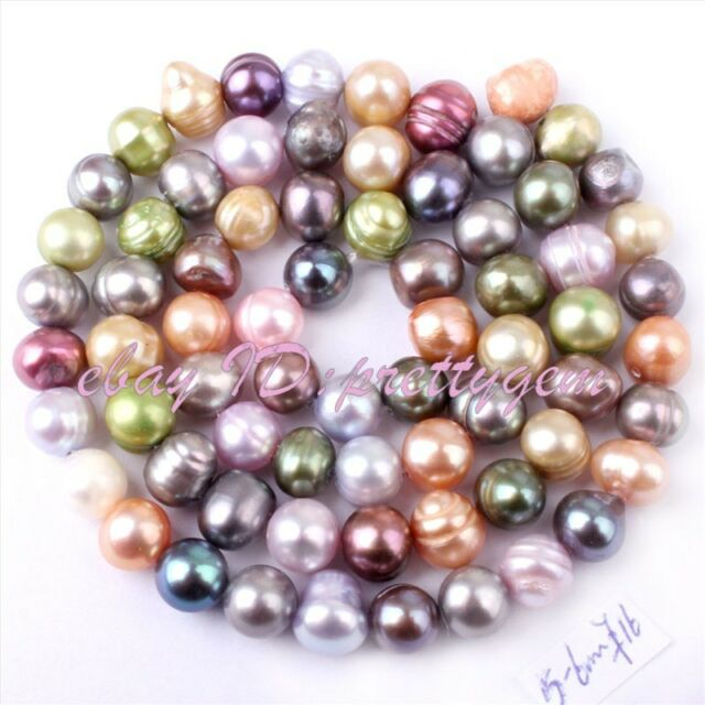 5-6mm Natural Multicolor Freeform Freshwater Cultured Pearl Gemstone Beads 15""