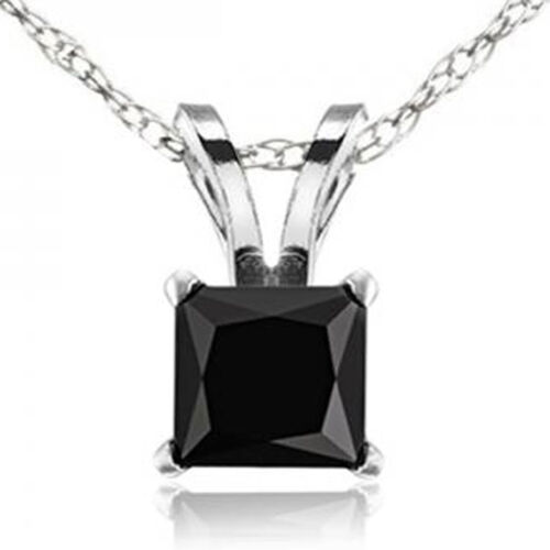 1.00 CT 10k White Gold Princess Cut Black Diamond Ladies Solitaire Pendant