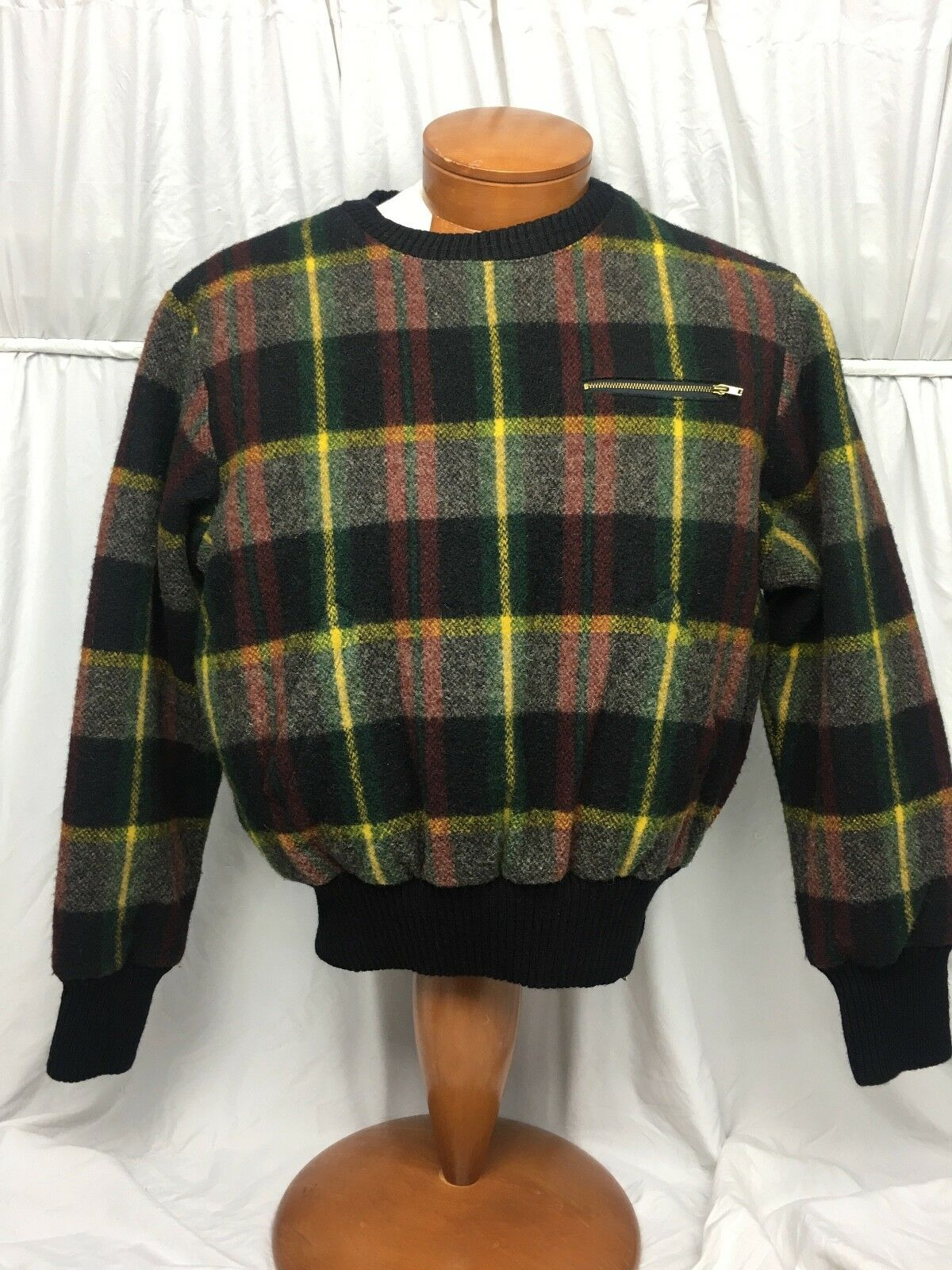 Ralph Lauren  RARE Plaid Ski schweißer w  Side Zipper & Puffer Inside groß